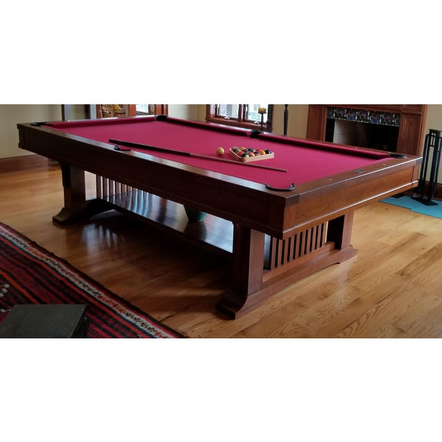 Red Brunswick Centennial Craftsman Pool Table For Sale - Image 8 of 8