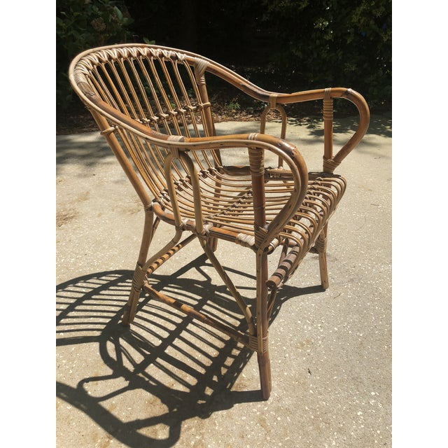 Brown Franco Albini Style Bamboo Arm Chair For Sale - Image 8 of 12