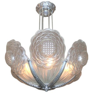 French Art Deco Frosted Art Glass Sunflower Chandelier Signed Boyreau Bordeaux For Sale