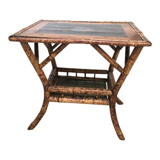 English Chinoiserie Bamboo Side Table For Sale