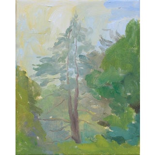 """Young Pine"" Landscape Oil Painting on Canvas by Michelle Farro For Sale"