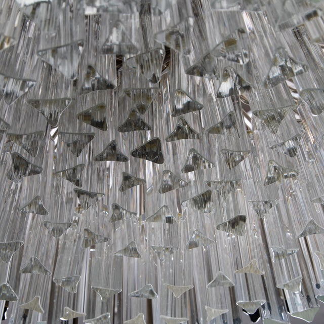 1970's VINTAGE MURANO SMOKE AND CLEAR PRISM CHANDELIER, For Sale - Image 9 of 13