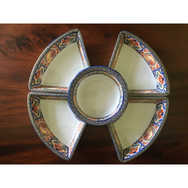 Lovely five piece vintage appetizer set includes a round bowl and four wedge shaped dishes beautifully decorated in a...