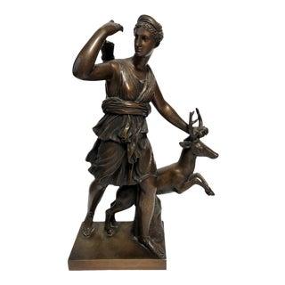19th Century Diana the Huntress Greek Goddess Bronze Sculpture For Sale