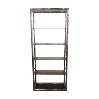 Chrome Faux Bamboo Etagere For Sale