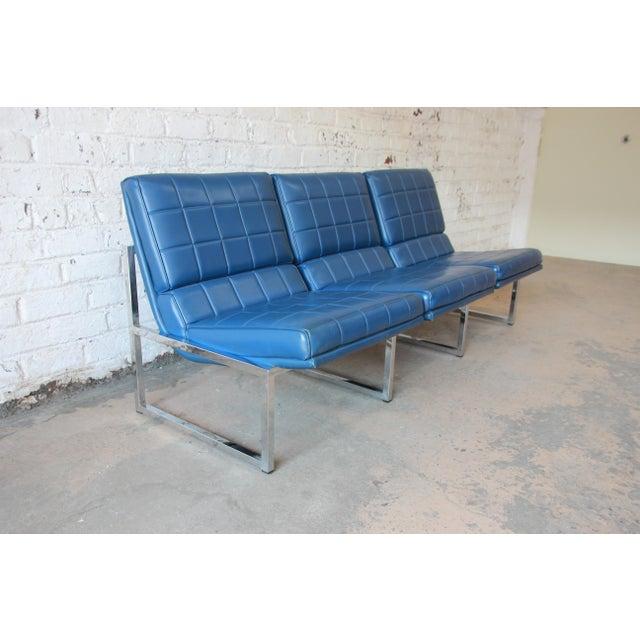 Chrome Craft 1970s Vintage Chromcraft Milo Baughman Style Three-Seat Sofa For Sale - Image 4 of 11