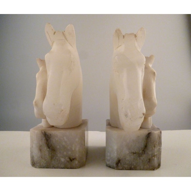 Alabaster Horse Bookends on Marble Bases - Pair - Image 2 of 11
