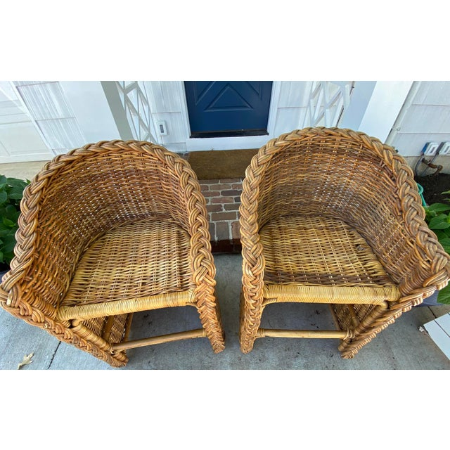 Vintage 1970's Crespi Style Woven Rattan and Bamboo Bar Stools - a Pair For Sale - Image 12 of 13
