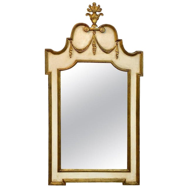Italian Neoclassic Giltwood and Parcel Gilt Mirror For Sale