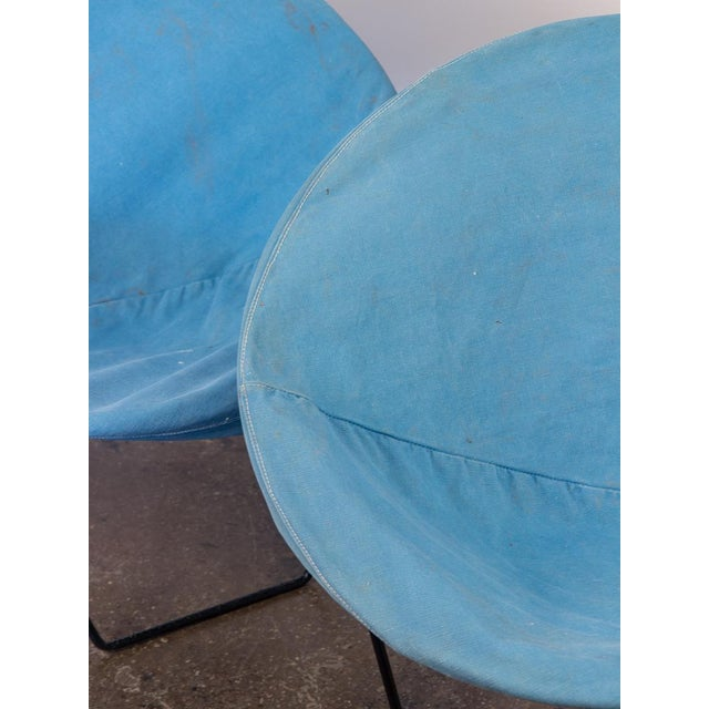 Outdoor Blue Hoop Chairs - A Pair For Sale - Image 9 of 10