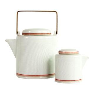 Vintage Mid-Century Modern Jack Lenoir Larsen for Dansk Bamboo Teapot & Creamer - a Pair For Sale