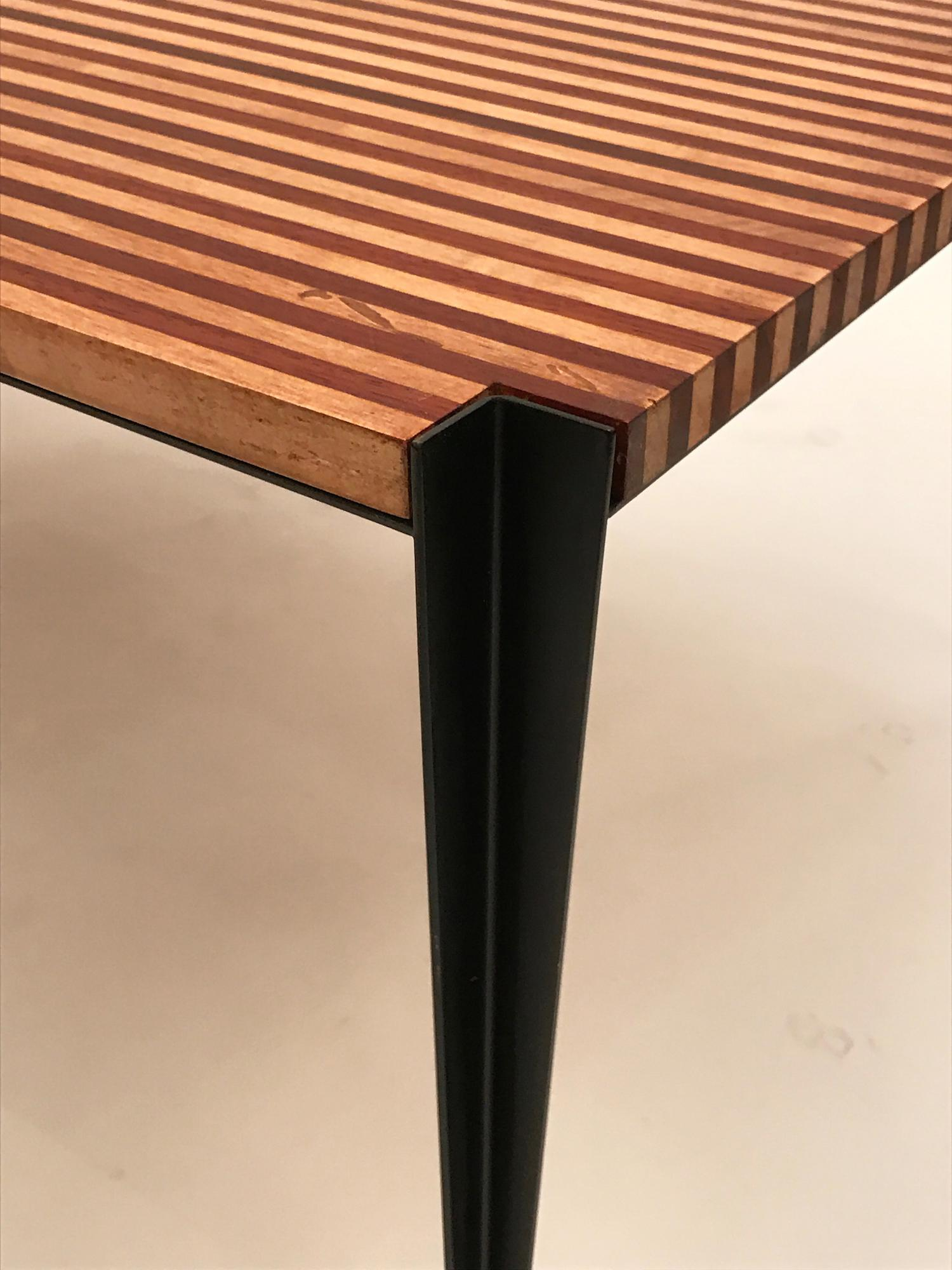 Osvaldo Borsani Osvaldo Borsani Pair Of Large Cocktail Tables In Two Toned  Wood And Steel For