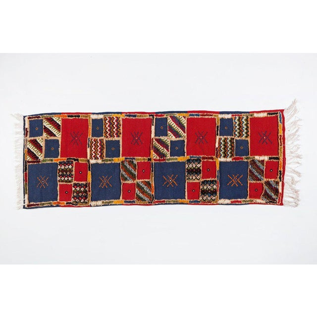 Boho Chic Red Blue Handwoven Moroccan Berber Runner - 2′ × 6′8″ For Sale - Image 3 of 3