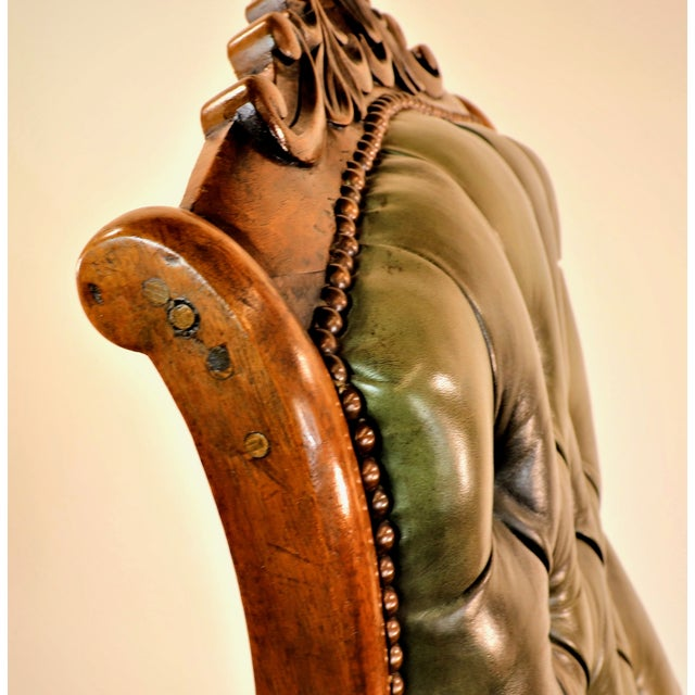 1830s English William IV Mahogany & Leather Rocking Chair For Sale - Image 10 of 13