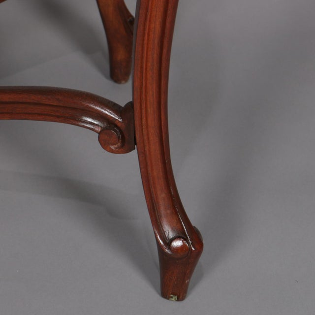 Antique French Louis XV Style Carved Walnut and Marble Center Table, Circa 1900 For Sale - Image 6 of 13