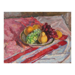Tabletop Still Life With Fruit, Oil Painting, 20th Century For Sale