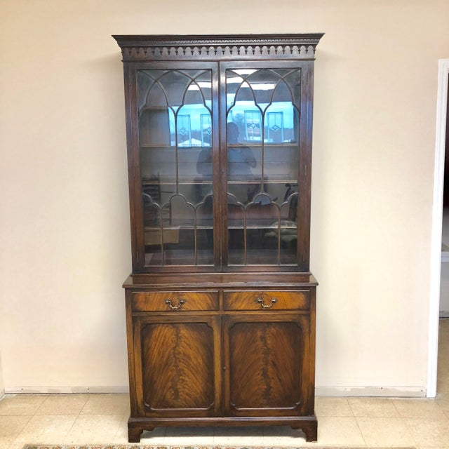 Georgian Stepback Chippendale Bookcase Cabinet For Sale - Image 12 of 12