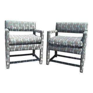 Vintage Milo Baughman Donghia Velvet Fabric Parson Chairs - a Pair For Sale