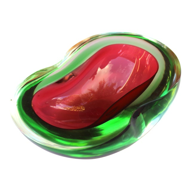 Murano Glass Red and Green Sommerso Ashtray & Bowl, 1960's For Sale