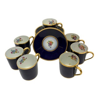 Vintage Limoges Espresso Cups and Saucers - Set of 7 For Sale