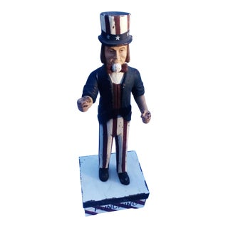 Hand Carved Wooden Uncle Sam For Sale