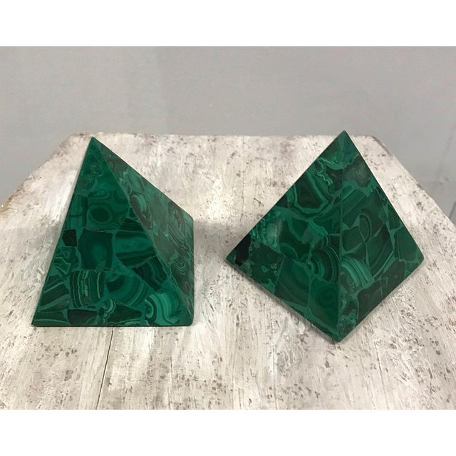 Gemstone Malachite Pyramidal Sculptures — a Pair For Sale - Image 7 of 8