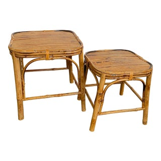 Vintage Burnt Bamboo Plant Stands - Set of 2 For Sale