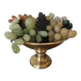 1970s Vintage Solid Brass Pedestal Bowl and Italian Marble Grapes - 7 Piece Set For Sale