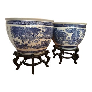 1990s Asian Antique Oversized Oriental Jardinieres - a Pair