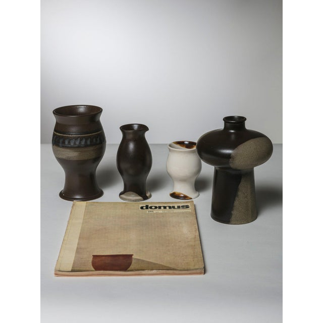 "Mid-Century Modern Set of Four ""Terra"" Vases by Ambrogio Pozzi for Ceramica Franco Pozzi For Sale - Image 3 of 4"