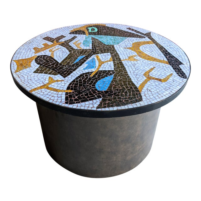 Artisan Midcentury Modern Mosaic Table For Sale