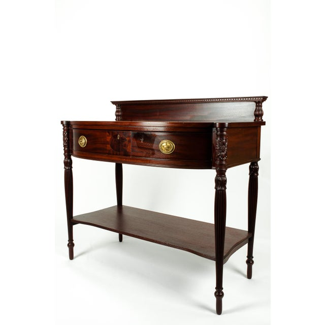 Antique North American Mahogany Wood Freestanding Wall Console Table For Sale - Image 4 of 6