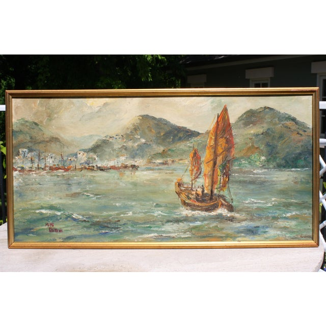 "Mid-Century Oil on Board Titled ""Hong Kong"" Depicting Junk Boat Harbour Scene For Sale - Image 12 of 12"