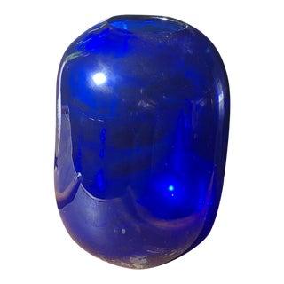 Vintage Cobalt Blue Glass Vase For Sale