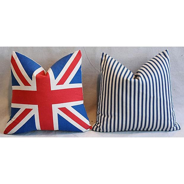 """17"""" Custom Tailored French Ticking & Union Jack Feather/Down Pillows - Set of 2 - Image 4 of 11"""