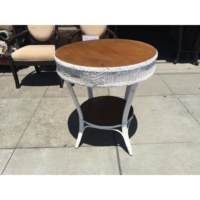 Wicker Heywood Wakefield Wicker Round Table For Sale - Image 7 of 7