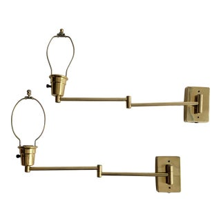 Vintage Double Swing Arm Brass Wall Lamps - a Pair For Sale