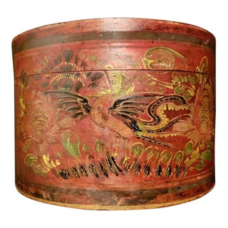 Late 19th Century Antique Shanxi Round Painted Storage Box For Sale