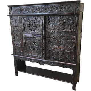 Antique French Carved Briton Cabinet Bookcase For Sale