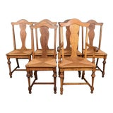 Image of Set of Six Vintage French Country Fiddle Back Tiger Oak Rush Seat Dining Chairs For Sale