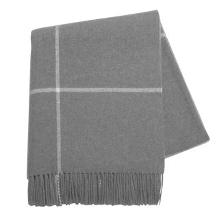 Gray/Ivory Windowpane Cashmere Throw For Sale