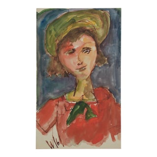Midcentury Young Lady in Red by Willard Wiener For Sale