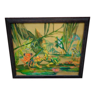 Frogs in a Swamp Framed Painting For Sale