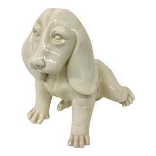 Antique French Porcelain Dog Statue For Sale