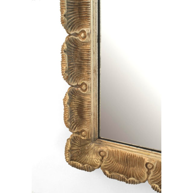 Italian Italian Venetian Style Gilt Scalloped Wall Mirror For Sale - Image 3 of 4