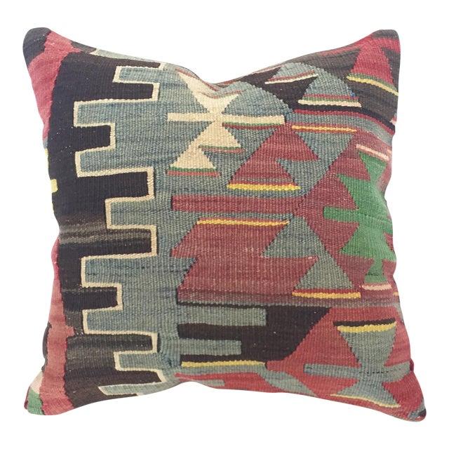Vintage Turkish Kilim Square Pillow Cover For Sale