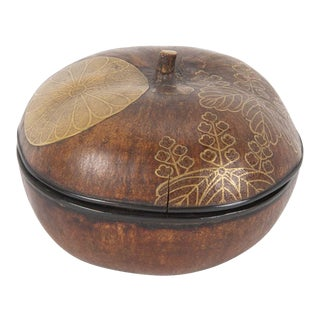 Japanese Lacquer Covered Gourd with Leaf Decoration For Sale