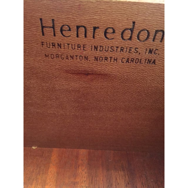 Campaign Style Henredon Pecan Double Armoire With Brass Pulls For Sale - Image 9 of 10