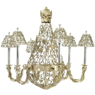 Silver Plated Buccellati Style Six-Light Marine Seashell Nautical Chandelier For Sale