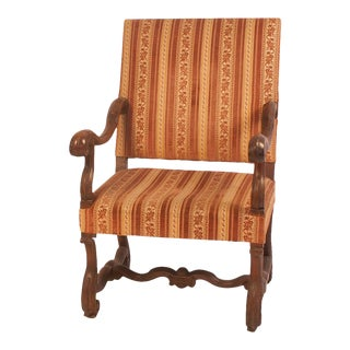 Italian Baroque Walnut Armchair, Circa 18th Century For Sale